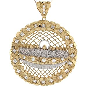 14k Real Two Tone Gold White CZ Accents 9.03cm x 7.34cm Last Supper Pendant
