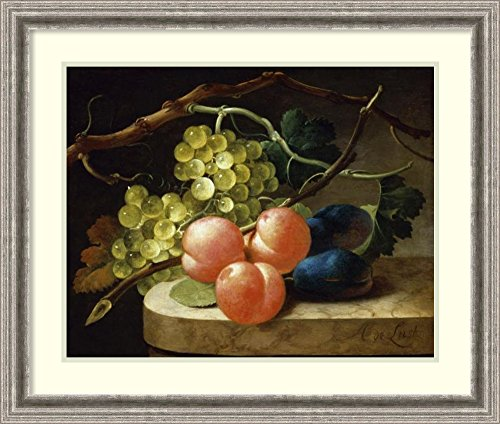 Framed Art Print 'Grapes on a Vine, Peaches and Plums on a Ledge' by Follower of Antoni de Lust
