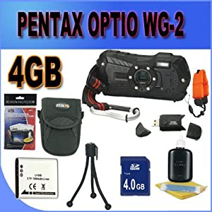 Pentax Optio WG-2 Adventure Series 16 MP Waterproof Digital Camera with 5 X Optical Zoom (Black) 4GB SD HC Card Battery and More Accessory Saver Bundle