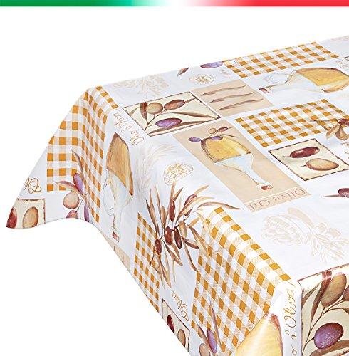 Tovaglia ANTIMACCHIA plastificata AL METRO H 140 rotolo da 20 METRI tela cerata cucina arredamento casa mod. OLIVE 135