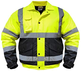 Utility Pro UHV562 Nylon/Polyester High-Vis Quilted Bomber Jacket with Cell Phone Pocket with Dupont Teflon fabric protector,  Yellow,  X-Large