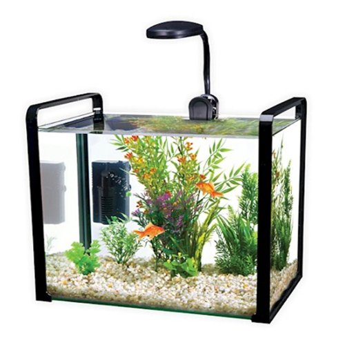 Parallel 8 Gallon Designer Glass Aquarium Includes Led Light Safety Lid - Grey