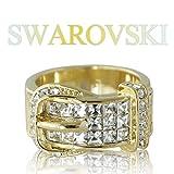 【SWAROVSKI 】 クリスタライズ スワロフスキー ベルト リング イエローゴールドカラー カジュアル ゴージャス 指輪
