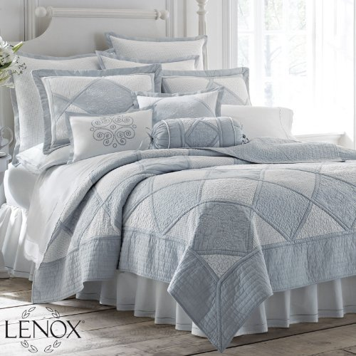 Lenox Embroidered French Perle Dusty Blue Harlequin 8Piece Full/Queen Quilt Coverlet Set front-900213