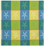 Durable Woven Jacquard 100% Cotton Blue and Yellow Starfish Tablecloth 54x90 Inches