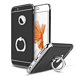 iPhone 6 Plus Case,Inspirationc® Ultra-thin 3 in 1 Plastic Hard Skin 360 Degree Rotating Ring Kickstand for Apple iPhone 6 Plus/6S Plus 5.5 Inch--Black