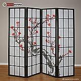 Homestyle4u 4 fach Paravent Raumteiler – Holz Trennwand Shoji in schwarz mit Kirschblüten – Muster