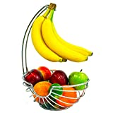 Superiore Livello Wire Chrome Fruit Tree Basket Bowl with Banana Hanger, Elegant and Decorative Fruit Bowl with Banana Hook, Classic Design, Modern and Stylish Look