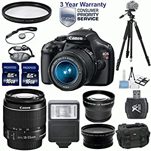 Canon EOS Rebel T3 12.2 MP CMOS Digital SLR 33rd Street Elite Bundle with 18-55mm IS II Lens + 2.2x Professional Lens + High Definition .43x Wide Angle Lens + 1pc U.V. Filter + Digital Slave Flash + Professional 50