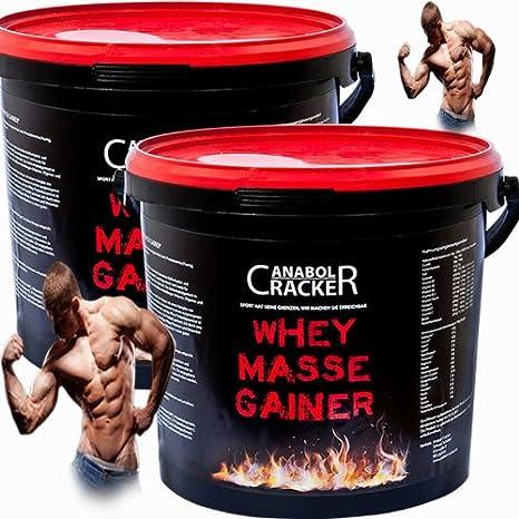 2X Whey Masse Gainer, Eiweißpulver, 3000g Eimer (6000g Gesamt), Erdbeere oder Vanille, Protein Shake