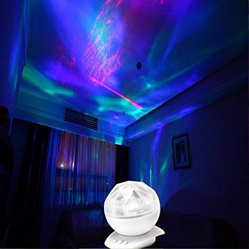 Covenov Colorful Diamonds Led Night Light Lamp LED Light Projector Aurora Borealis Projection Bulb Light Color Changing Night Light Speaker Lamp Perfect for Kids and Adults