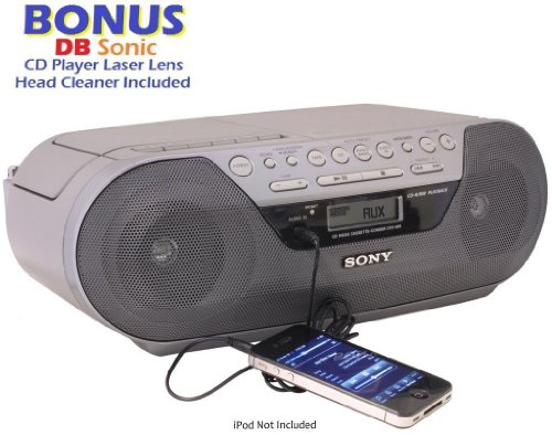 Sony Portable Digital Tuner Am/Fm Radio Tape Cassette Recorder & Cd Player Mega Bass Reflex Stereo Sound System With Program, Shuffle, Repeat, 20 Track Rms Programming, 30 Presets, Lcd Display, Auto Scan Tuning & Audio In Jack To Connect Any Ipod, Iphone