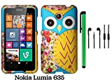Nokia Lumia 635 (US Carrier: T-Mobile MetroPCS and AT&T) Premium Pretty Design Protector Cover Case + 3.5MM Stereo Earphones + 1 of New Assorted Color Metal Stylus Touch Screen Pen (Blue Floral Owl)
