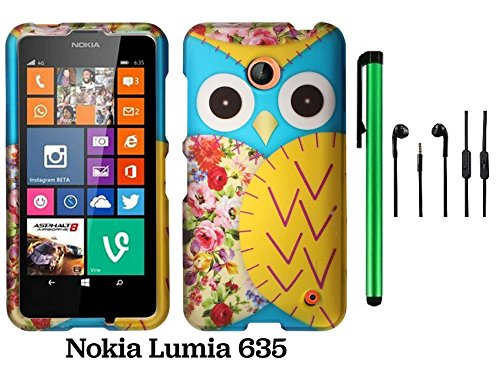 Nokia Lumia 635 (Us Carrier: T-Mobile, Metropcs, And At&T) Premium Pretty Design Protector Cover Case + 3.5Mm Stereo Earphones + 1 Of New Assorted Color Metal Stylus Touch Screen Pen (Blue Floral Owl)