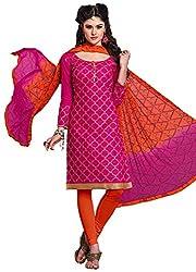 Manmauj Women's Cotton Unstitched Dress Material (MM10011DRNI, Pink)