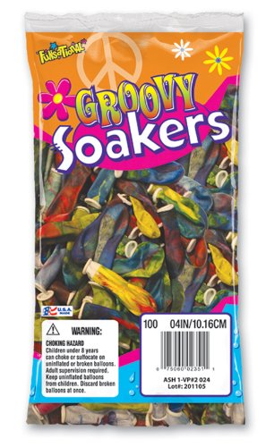 Pioneer National Latex Groovy Soakers 100 Count Water Balloons, Tye Dye - 1