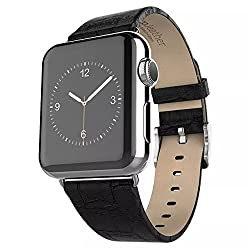 Apple Watch Strap,Mattaxly Luxury Leather Wrist Watch Band Classic Buckle Watch Band Straps for Apple Watch (42 mm Leather Black )