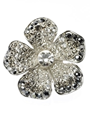 M&S Collection Pave Diamanté Floral Brooch