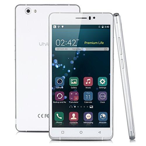 "UHAPPY UP580 3G SmartPhone - 6.0"" pollici IPS QHD, Android 5.1 Quad Cores, 1GB RAM + 8GB ROM, 8M + 5M Camera, Dual SIM, WiFi GPS, Bianco"