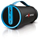 Axess SPBT1033-BL Portable Bluetooth Indoor/Outdoor 2.1 Hi-Fi Cylinder Loud Speaker with SD Card, AUX and FM Inputs, 4