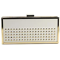 La Regale Lucite Nail Head Clutch, White, One Size