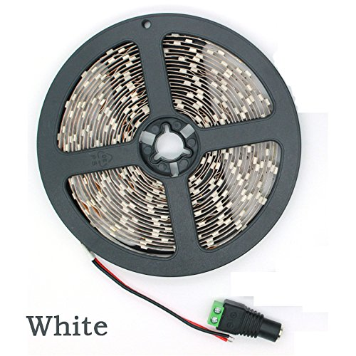 Hosim 5M White Led Flexible Strip Lighting, Smd 3528 60Leds/M, Input Dc 12V, Non-Waterproof