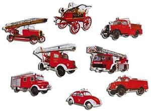 Magnete 8er-Set Historische Feuerwehrautos - Kühlschrankmagnete mit Motiv für Magnettafel Magnetboard Pinnwand Memoboard Whiteboard - Original Magnete GUMA Magneticum