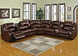 AC Pacific Samara Double Reclining Bonded Leather Sectional Sofa, Dark Brown