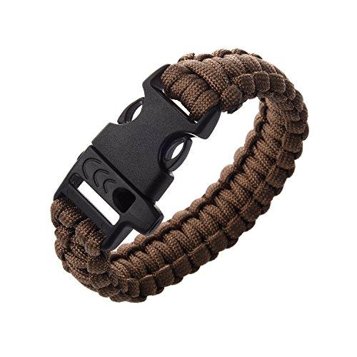 23cm-Bracelet-Paracord-Bracelet-de-Survie-Corde-de-Parachute-avec-Boucle-Plastique-Brun
