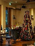 【クリスマスツリー】組立簡単!室内、屋外兼用 オーナメント50個・ライト400球付き!スマートツリー(高さ約2m) バーガンディーレッド