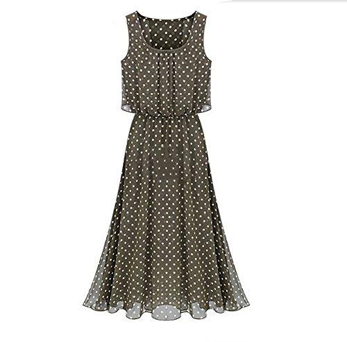 Womens Casual Chiffon Sleeveless Long Dress Bohemian Maxi Gown Skirts One-Piece (S, Khaki)