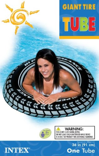 INTEX Giant 36 Tire Inflatable Floating Swimming Tube Raft - (Set of 2) environmentally friendly pvc inflatable shell water floating row of a variety of swimming pearl shell swimming ring