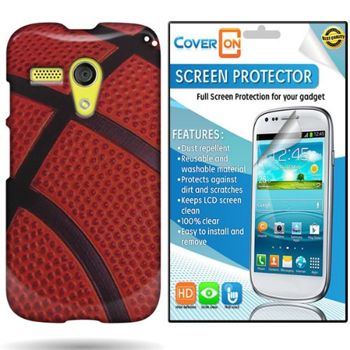 Coveron® Motorola Moto G Hard Plastic Slim Case Cover Bundle With Clear Anti-Glare Lcd Screen Protector - Brown Black Basketball