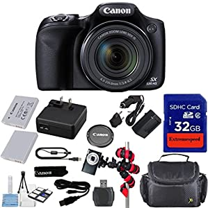 Canon Powershot SX530 HS 16.0 MP Digital Camera with 50x Zoom, Wi-Fi & 1080p Full HD Video + Extra Battery + Extremespeed 32GB Commander Memory + Spider Flexible Tripod + Deluxe Carrying Case