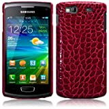 Red Croc Skin Style Pu Leather Hard Back Case Cover For Samsung Wave 3 S8600 PART OF THE QUBITS ACCESSORIES RANGE