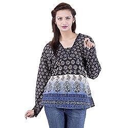 Jaipur Kala Kendra Women's Casual Wear Black Cotton Top