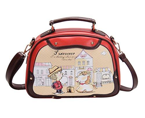 Ymb Women'S Sweet Small Satchel Girls Cartoon Print School Shoulder Bag Orange Red front-1041366