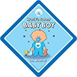 Worlds Cutest Baby Boy On Board Car Sign Baby On Board Sign Decal Bumper Sticker baby on board baby Sign Baby Car Sign Novelty Car Sign