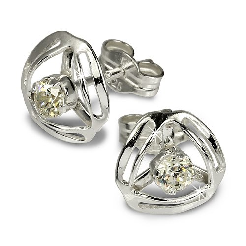 SilberDream earring Design with white Zirkonia 925 Sterling Silver SDO528W