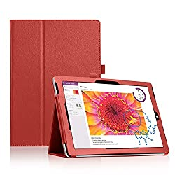 Microsoft Surface 3 Case - J&D Microsoft Surface 3 Case [Folio Style] Slim Fit Leather Case with with Stylus Holder for Microsoft Surface 3 (Red, Surface 3)
