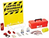 """NMC LOK2BI 11 Piece Bilingual Electrical Lockout Center with Wire Basket, 16"""" Length x 14"""" Height, Yellow Board"""