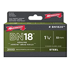 Arrow Fastener BN1820 Genuine 1-1/4-Inch, 18 Gauge Brads, 2,000-Pack