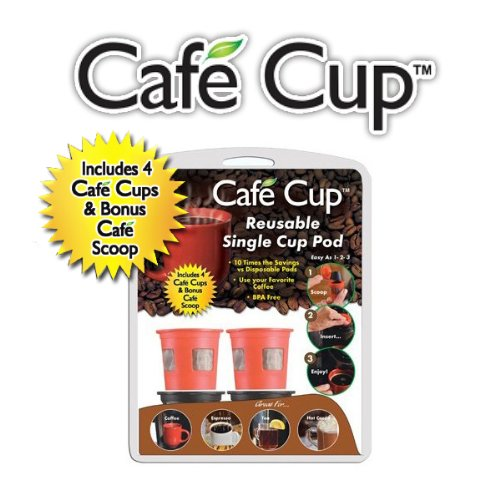Spark Innovators Cafe Cup Reusable Coffee Pod (1-Serving), Black/Red front-960411