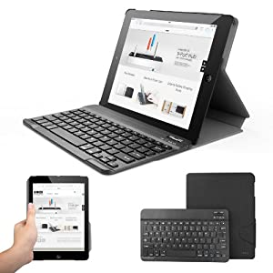 Anker® TC960 Ultra-Slim Folio Bluetooth Keyboard Case for iPad 4 / 3 / 2 - Smart Case and Magnetically Detachable Keyboard (Tuxedo-black) (iPad Folio)
