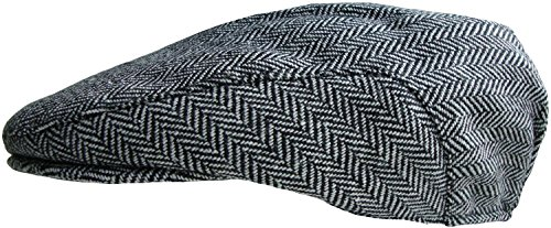 Mens Tweed Country Flat Cap (58cm, Black/White Herringbone)