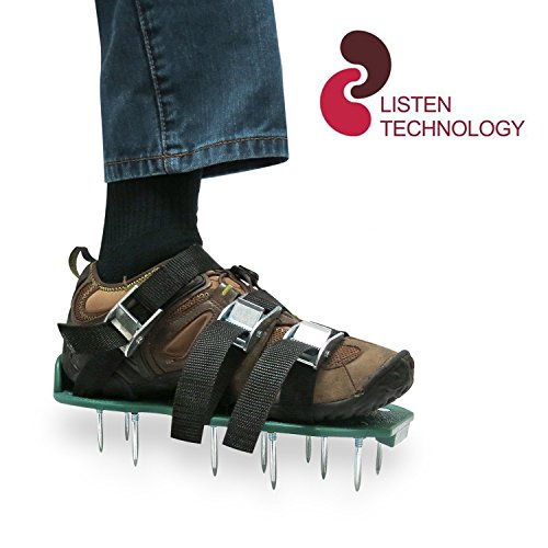 Listen Tec Lawn Aerator Shoes /Metal Buckles and 3 Straps - Heavy Duty Spiked Sandals for Aerating Your Grass Lawn or Yard