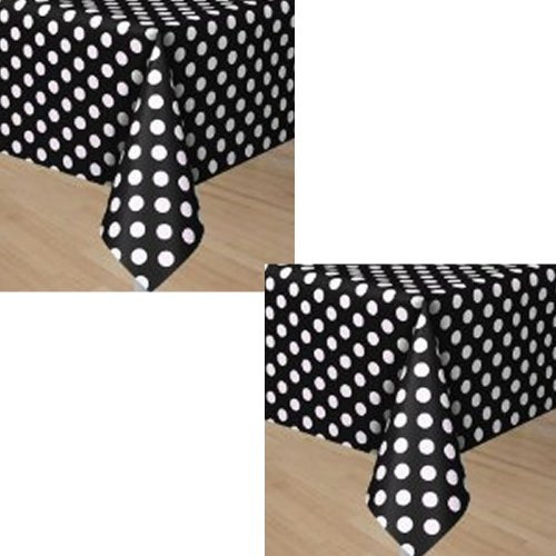 Black Polka Dots Party Plastic Tablecovers - 2 Pieces (Black Polka Dot Table Cover compare prices)