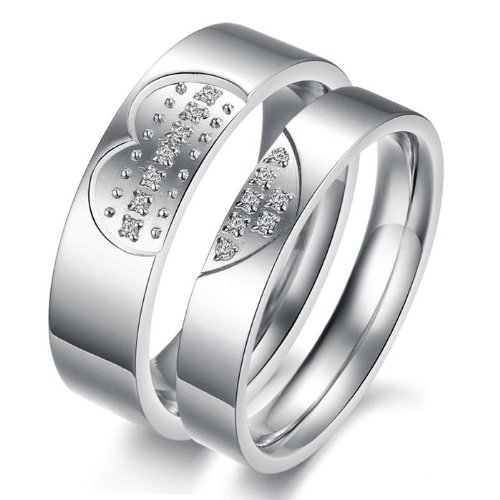 OPK Silver CZ Stone Combine Love 316 l Stainless Steel Titanium Wedding Band Anniversary/Engagement/Promise/Couple Ring Best Gift!