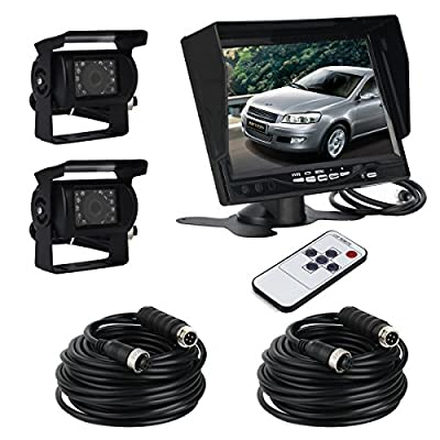 "ATian 7"" LCD Monitor Screen & 2 x IR Car Rear View Reverse Camera Kit for truck Trailer Bus RV Vehicle from ATian"