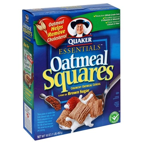 Quaker Essential Oatmeal Squares, Crunchy Oatmeal Cereal with a Hint of Brown Sugar, 16-Ounce Boxes (Pack of 6)